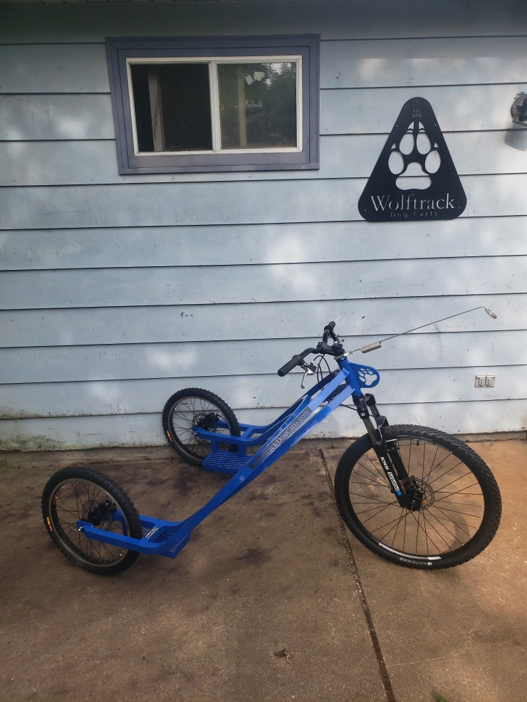 Blue three wheel racing model