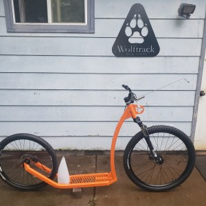 Orange 2 wheel scooter
